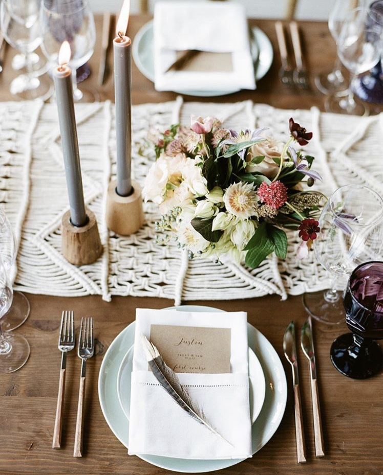 Fall Table Runner by Shannon Leahy Events using macrame