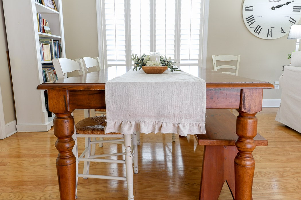 Thanksgiving table decorations DIY drop cloth runner