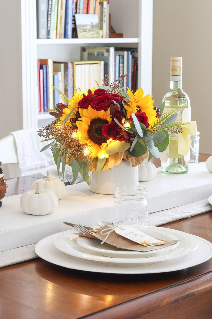 Thanksgiving table decorations DIY sunflower centerpiece by Kendall Farms