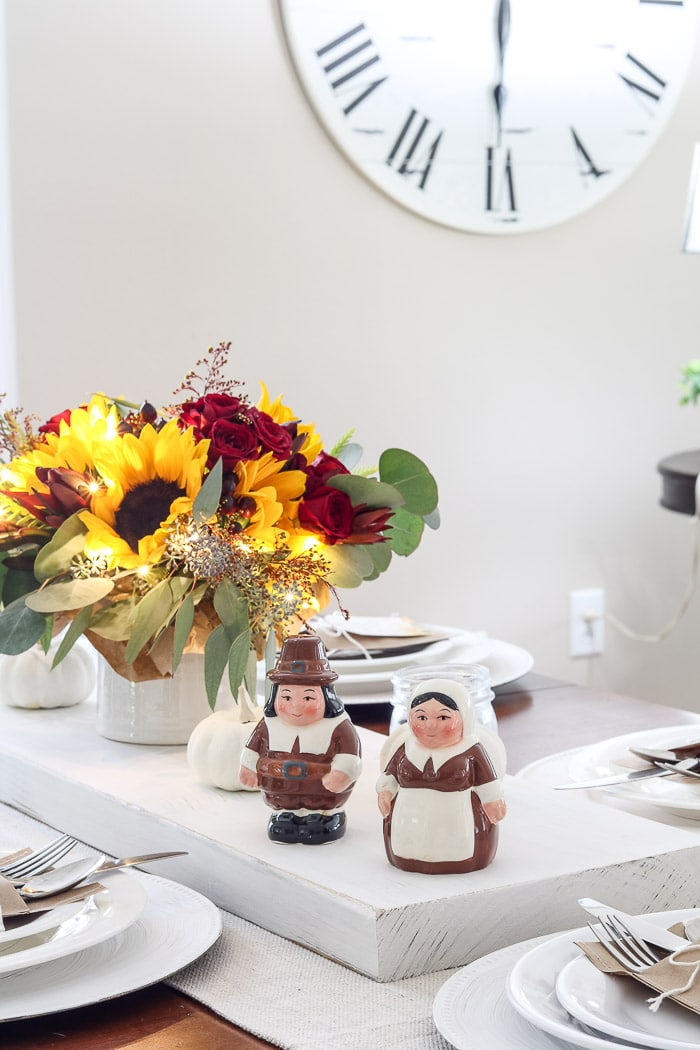 Thanksgiving table decorations DIY Publix pilgrim salt and pepper shaker