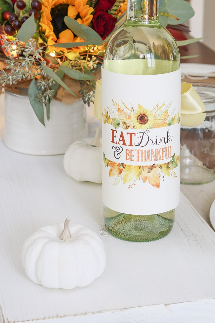Thanksgiving table decorations DIY wine bottle wrap by The Polka Dot Press