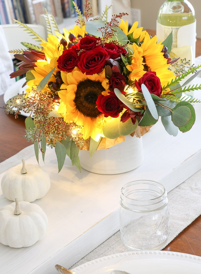 Thanksgiving table decorations DIY flower centerpiece by Kendall Farms