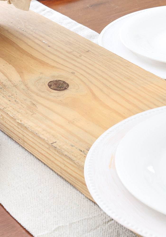Thanksgiving table decorations DIY raw wood