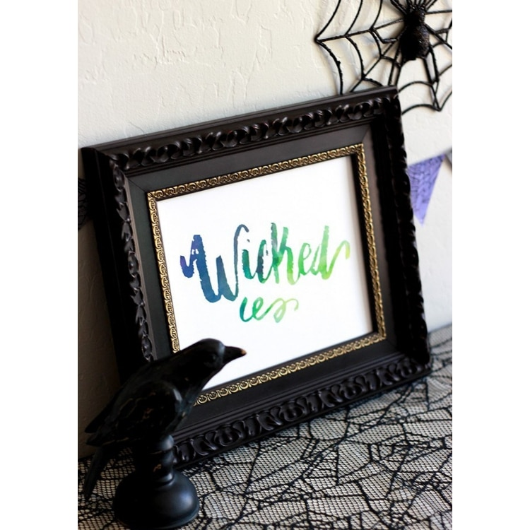 Free Halloween Printables by Printable Crush Wicked Brushed Lettering Wall Art