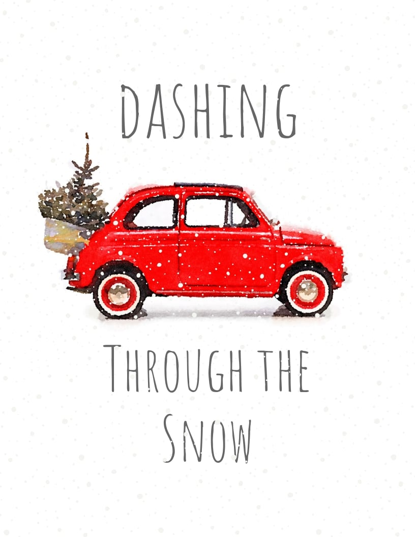 Dashing Through the Snow red fiat car with Christmas tree strapped to the back and snow falling around the retro vintage vehicle