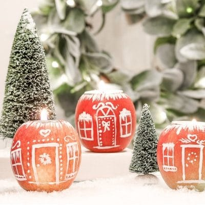 HOW TO MAKE A APPLE CANDLE VILLAGE USING NATURAL CHRISTMAS DECOR