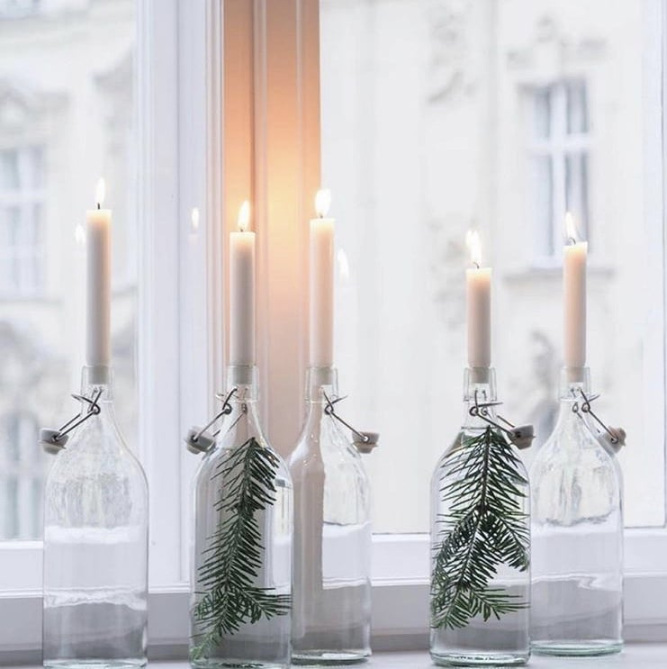 Primitive Christmas Decor by Svenja Traumzahause candles in jars with pine
