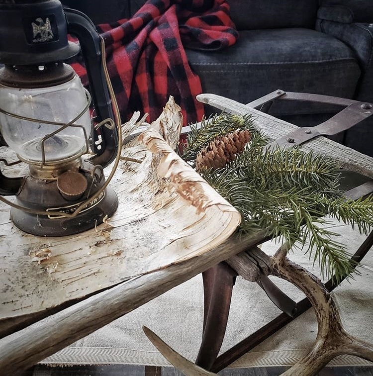Primitive Christmas Decor by Farmhouse for 8 sled with lantern and pine
