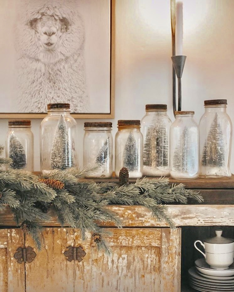 Mason Jar Christmas Decorations by The Tailored Haven Christmas snow globes