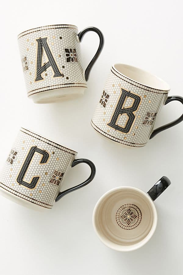 Anthropologie tile mosaic monogram letter coffee tea cup mug Christmas gift idea