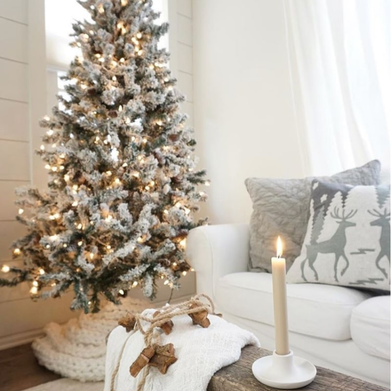 Minimalist Christmas Decorations by Mrs. Rollman flocked Christmas tree white lights