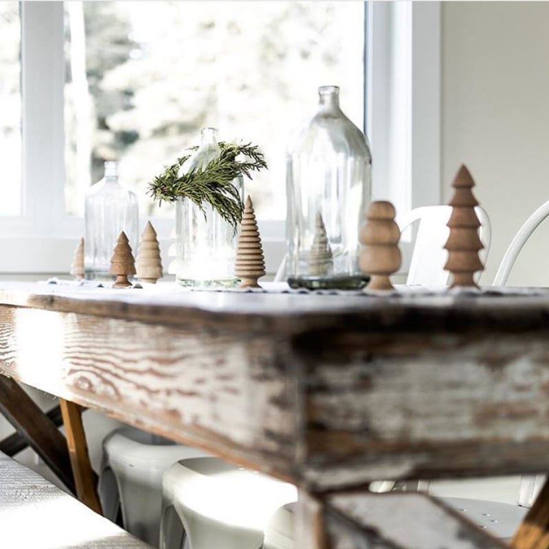 Minimalist Christmas Decorations by White Farmhouse Christmas table decor bottles and wooden Christmas trees