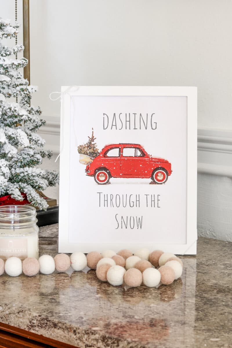Vintage car Christmas free printable