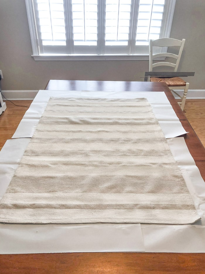 DIY rug using a drop cloth and chalk paint step by step project