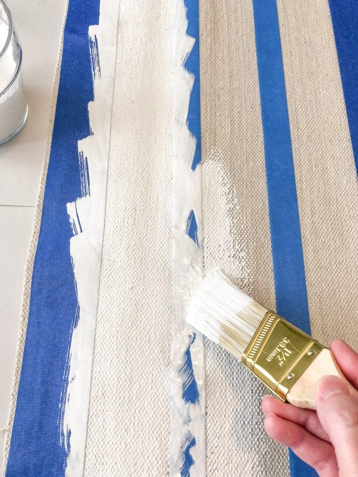 DIY rug using a drop cloth and chalk paint project