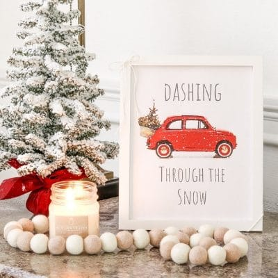 Christmas printable decor free printable Dashing Through the Snow