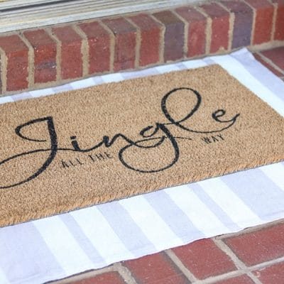 DIY Rug using a drop cloth and chalk paint
