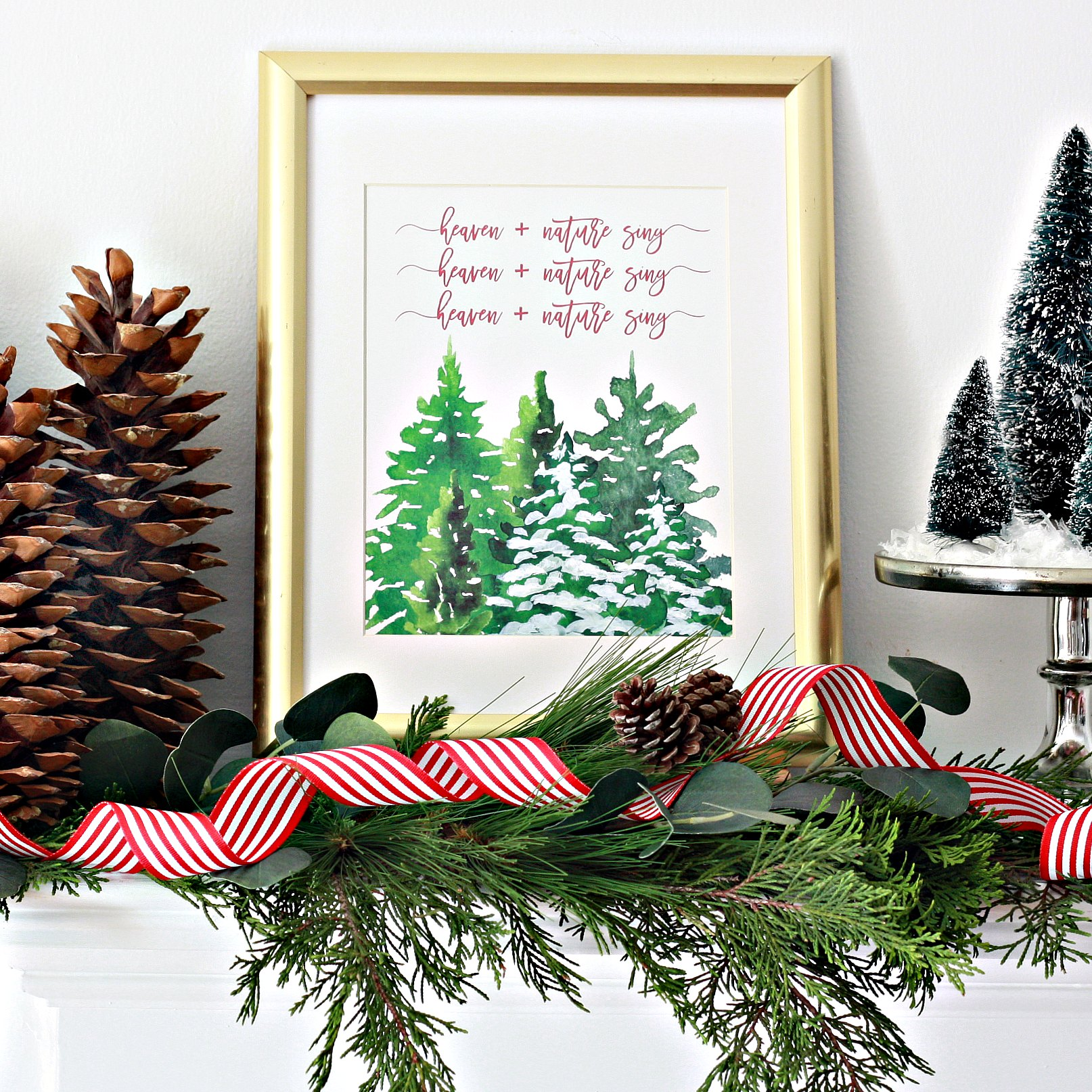 Christmas Printable Decor by Nest of Posies with Christmas trees and snow