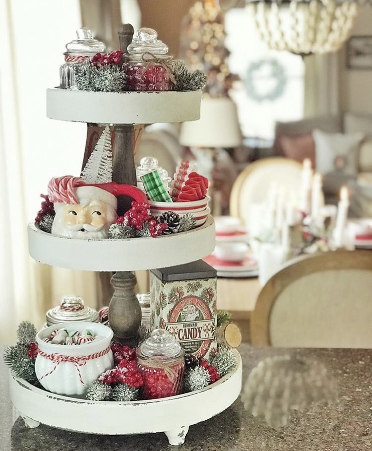 Christmas Farmhouse Tiered Tray by The Quaint Bungalow with vintage santa mug and candy
