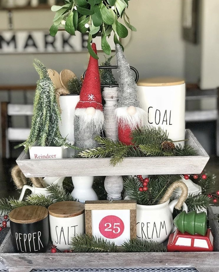 Christmas Farmhouse Tiered Tray by Welcome to the Neibaurhood with Rae Dunn and Gnomes