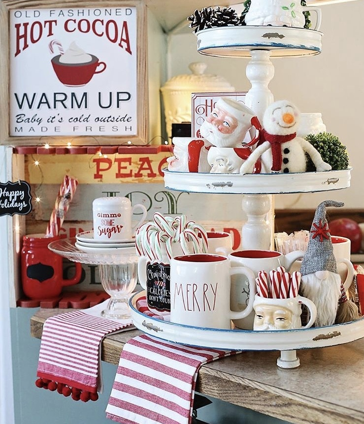 Christmas Farmhouse Tiered Trays by Sylvia Cook with Rae Dunn mugs, gnomes and santa vintage mugs