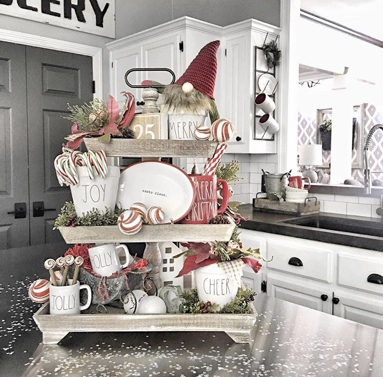 Christmas Farmhouse Tiered Trays by Tag Interior Designs with Rae Dunn pieces, gnomes and a countdown to Christmas