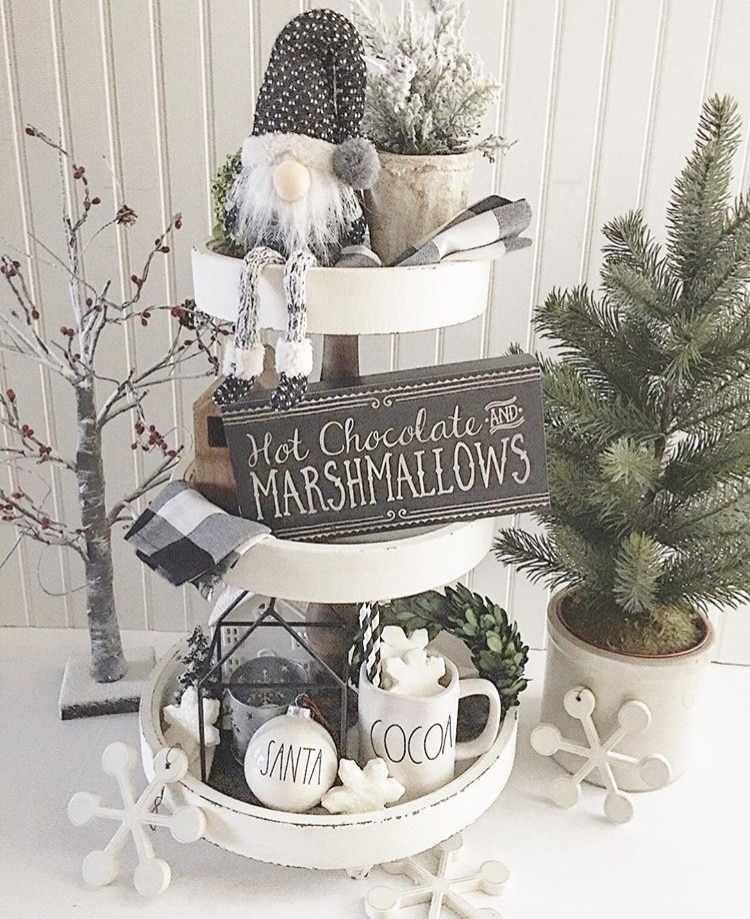 Christmas Farmhouse Tiered Trays by Lori's Place grey and white themed