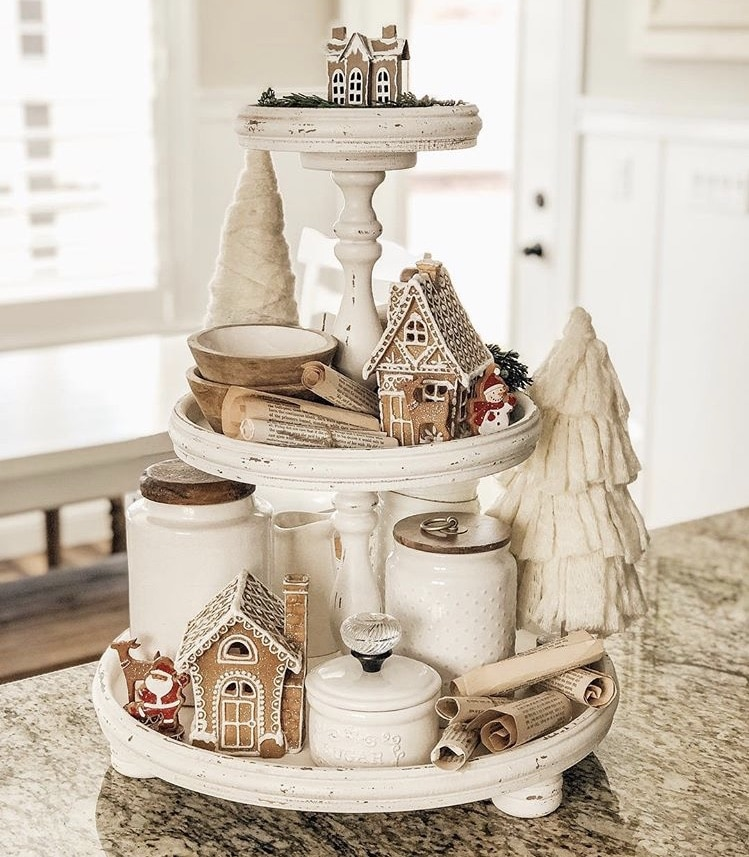 Christmas Farmhouse Tiered Tray by Sweet Rose and Wren with gingerbread houses and christmas trees