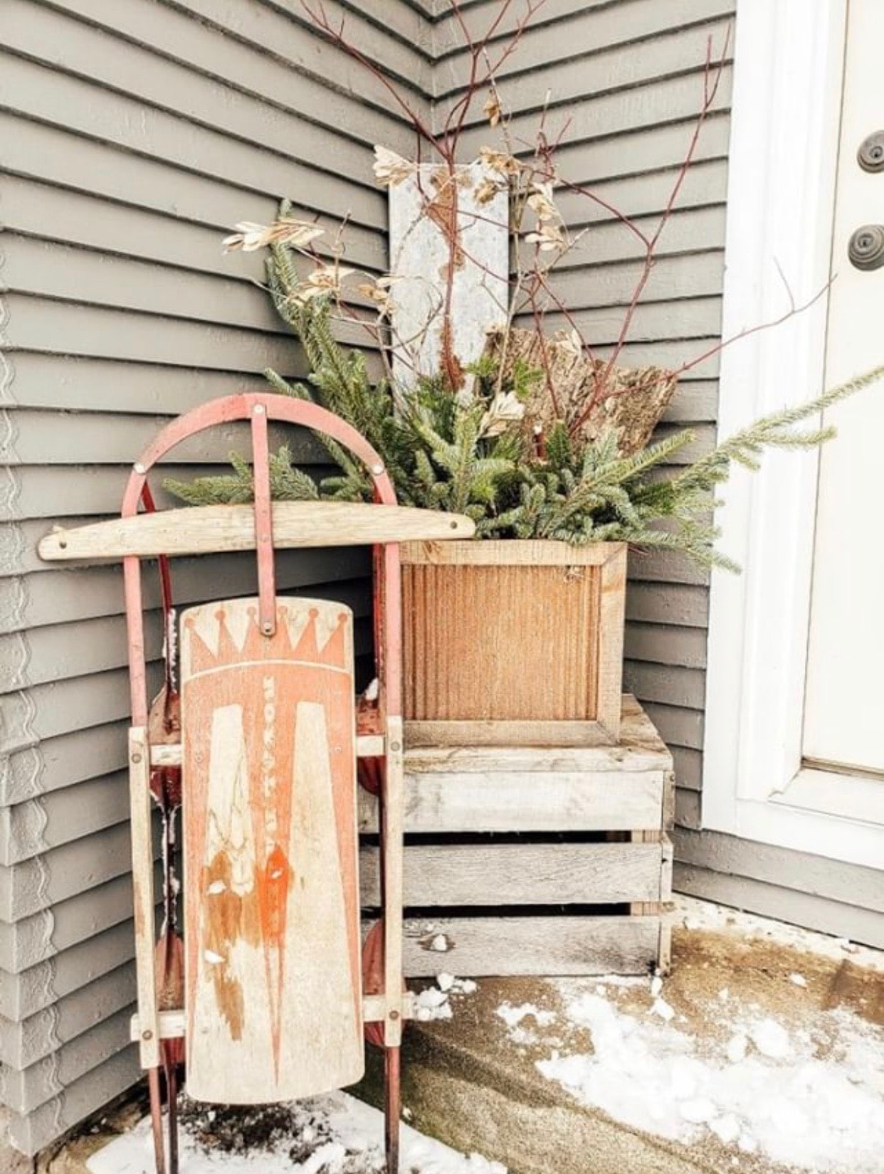 Christmas decorating ideas for porches by Farmhouse for 8 close up of sled
