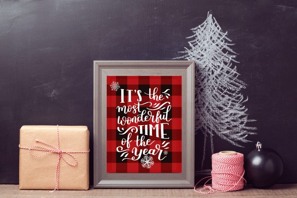 Christmas Printable Decor by Busy Being Jennifer with buffalo check and the most wonderful time of the year