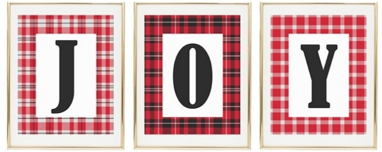Christmas Printable Decor by Yellow Bliss Road with Joy letters and plaid boarder