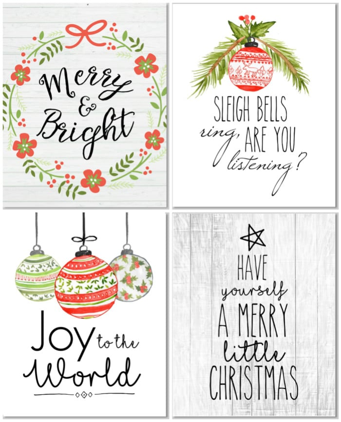 Christmas Printable Decor by Hip 2 Save with four printables in shiplap