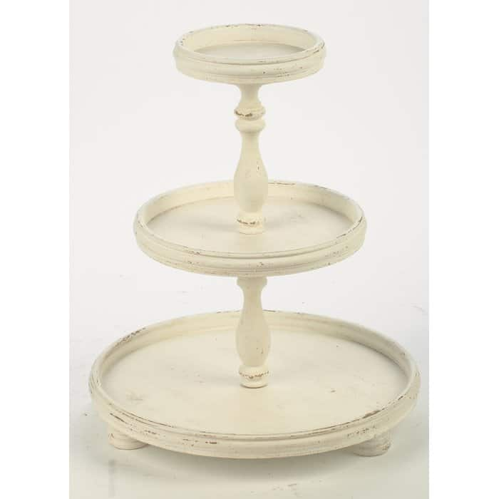 Farmhouse Tiered Trays by Wayfair chipped cream three tiered tray