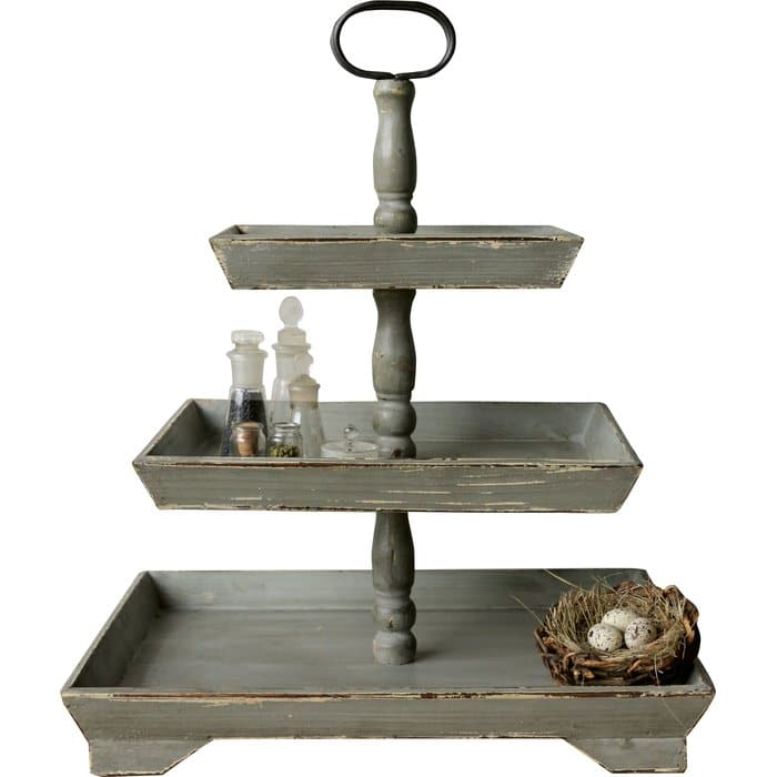 Farmhouse Tiered Trays by Wayfair wooden rectangle 3 tiered tray