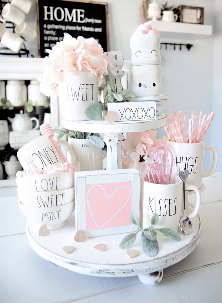 Tiered Tray by Vintage Magnolia with Rae Dunn pieces and lots of hearts and pink