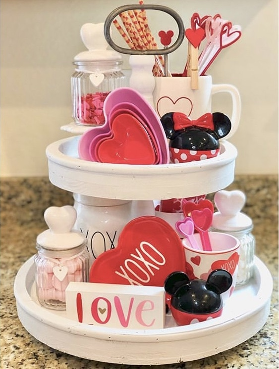 Tiered Tray by Disney ET AL with Minnie and Mickey mouse and hearts, straws and sprinkles