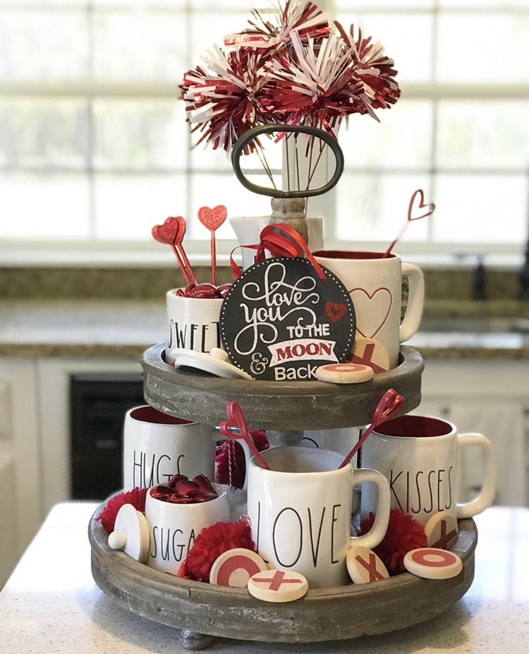 Tiered Tray by Pammy & Poppy with Rae Dunn mugs and xo pieces