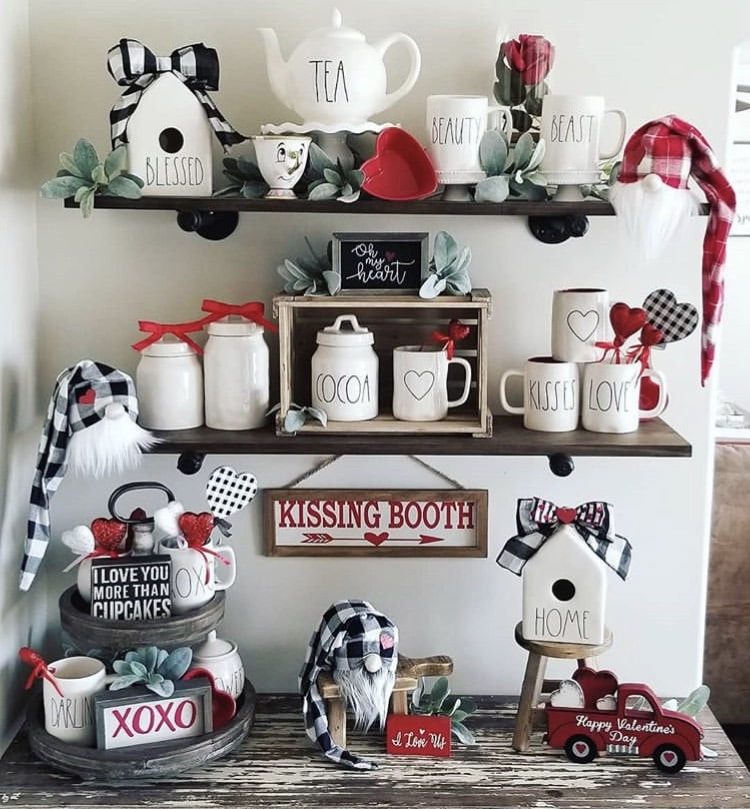 Tiered Tray by Rae Dunner with Rae Dunn bird house, tea pot, coffee mugs and cocoa canister