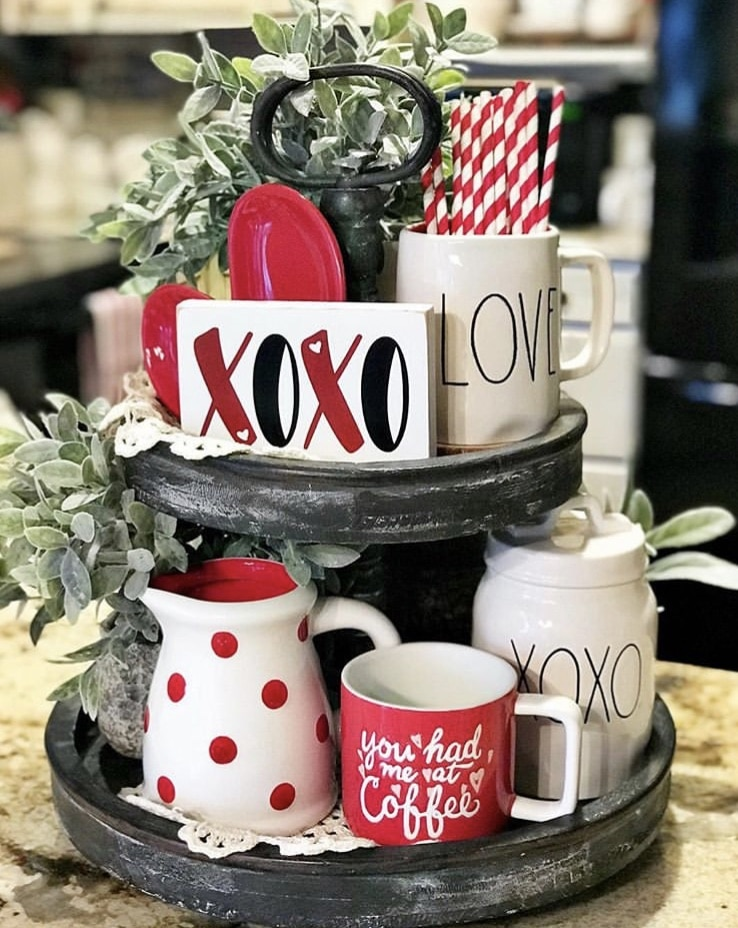 Tiered Tray by Farm to Table Creations with xo wood sign, red and white decorative straws and Rae Dunn pieces