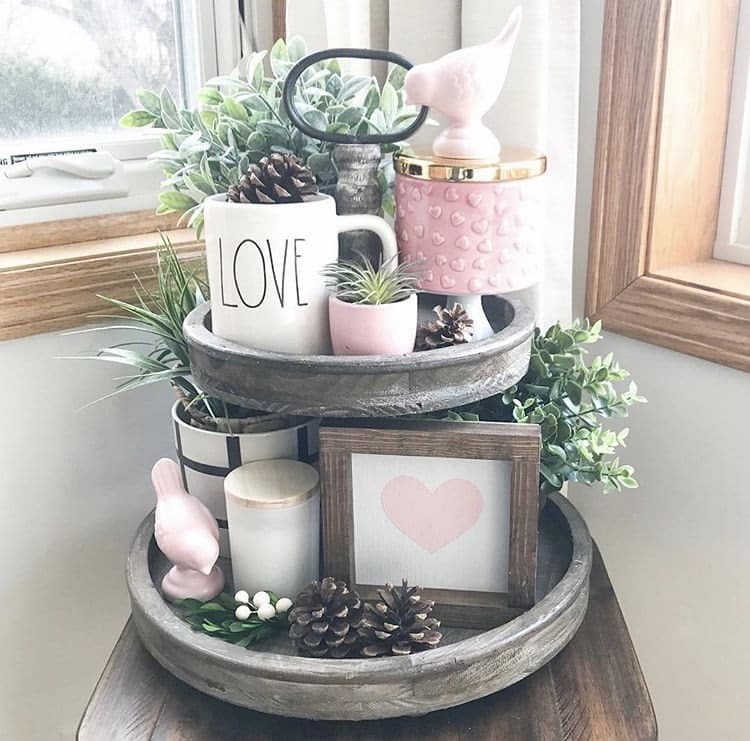 Tiered Tray by Rustic Fields with Rae Dunn mug, pink birds, greenery and pine cones