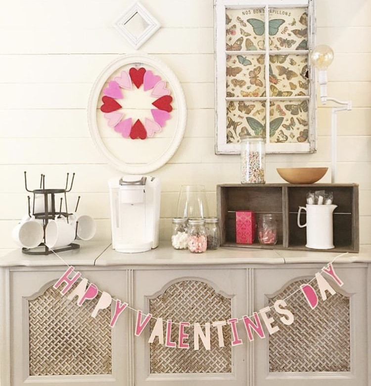 Valentine's Day Garland by Shiplap & Stripes with a Happy Valentine's Day banner