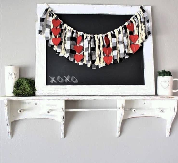 Valentine's Day Garland by Holly Bee & Company with a chalkboard adorned with fabric strip garland