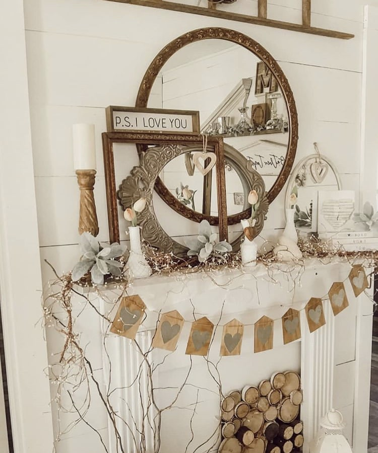 Valentine's Day Garland by Junk Gems with a neutral faux fireplace with heart garland