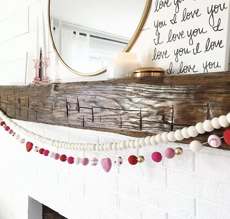 Valentine's Day Garland by Linley Noel with layered felt ball garland