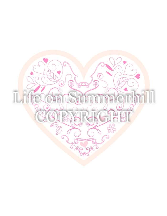 Dutch love heart with flowers free printable