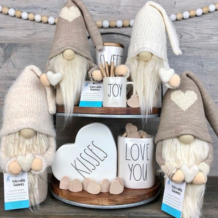 Tiered Tray by Adorable Gnomes with a neutral gnomes filled Valentine's Day tray with Rae Dunn mugs and more