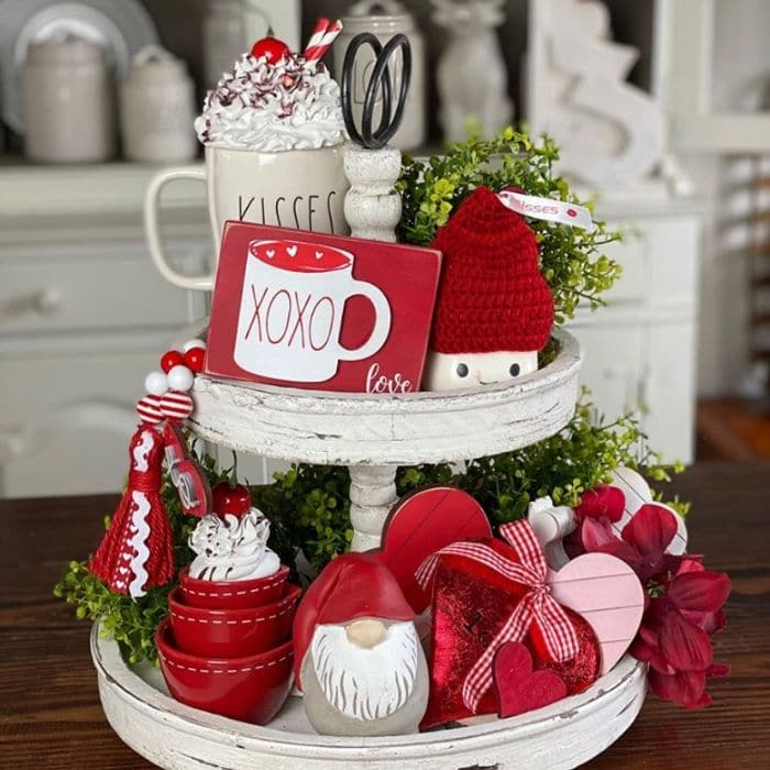 Tiered Tray by Cottage Revivals with a red, white and pink filled Valentine's Day tray