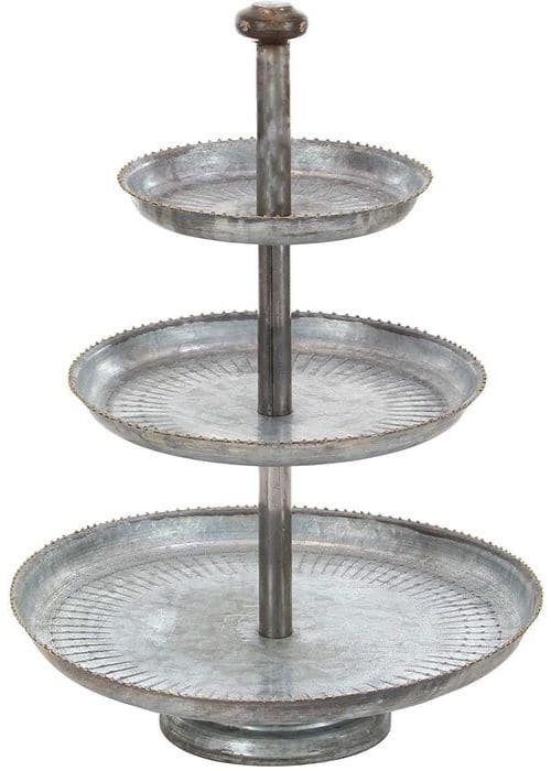 Farmhouse Tiered Tray by Deco from Amazon with a farmhouse 3 tiered galvanized metal tray