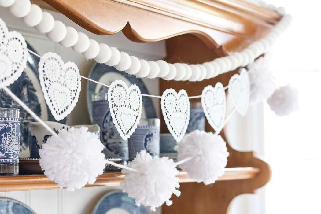 Valentine day doily heart garland
