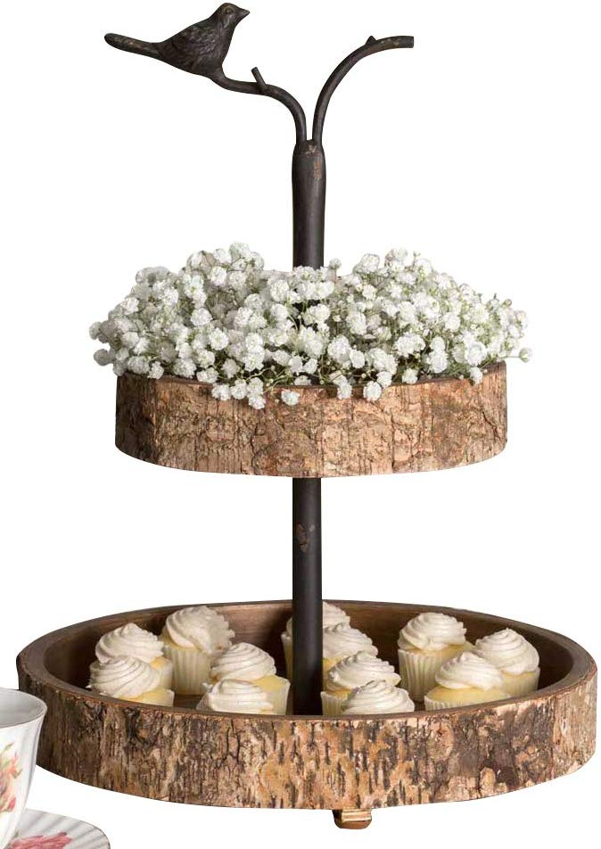 Farmhouse Tiered Tray from Amazon with a bird & birch two tiered tray